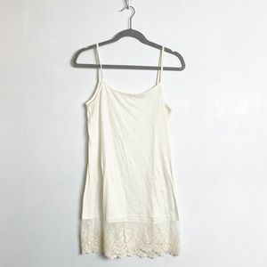 O2 collection off white lace trim tank top